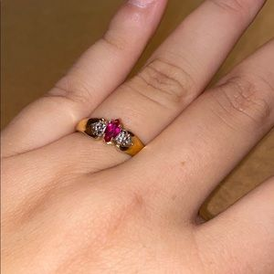 10k gold ring with ruby and diamonds